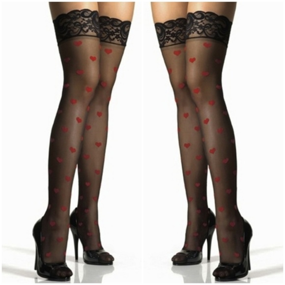 8a8ee6a685d Valentines Day Heart Lace Top Thigh High Stockings